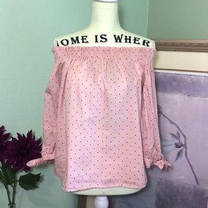 Tops - 5/$25 Pink mini polka dots off the shoulder blouse